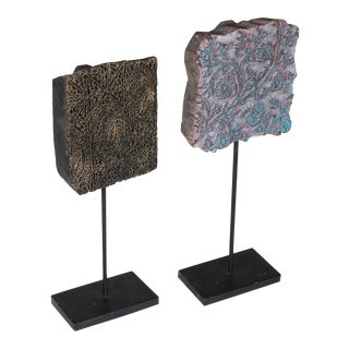 Indian Hand-Carved Wooden Batik Fabric Printing Stamps on Metal Stands - a Pair For Sale