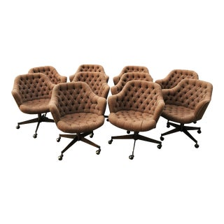 Modern Tufted Swivel Chairs by Jack Cartwright - Set of 10 For Sale