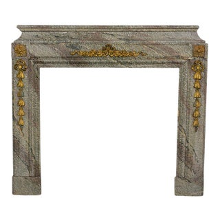 Early 19th Century French Louis XVI Style Marble Stone Fireplace For Sale