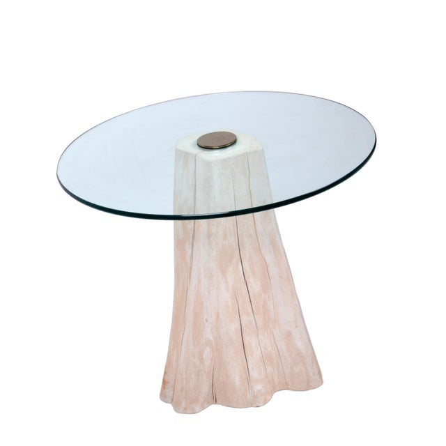 Contemporary Round Mid-Century Modern Tree Stump Glass Side Table For Sale - Image 3 of 8