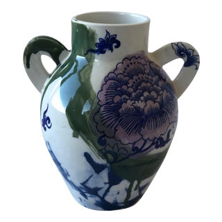 Contemporary Ceramic Chrysanthemum Vase With Handles For Sale