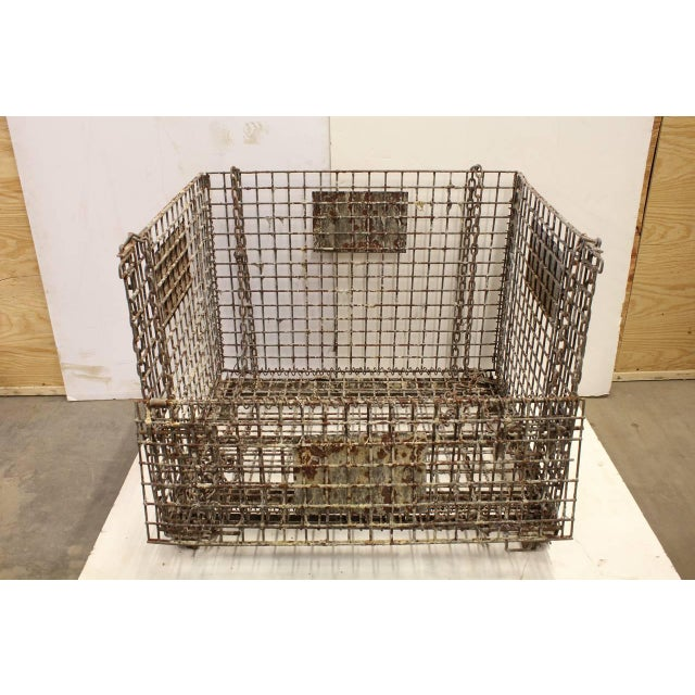 Industrial Early 20th Antique American Industrial Collapsible Basket For Sale - Image 3 of 3