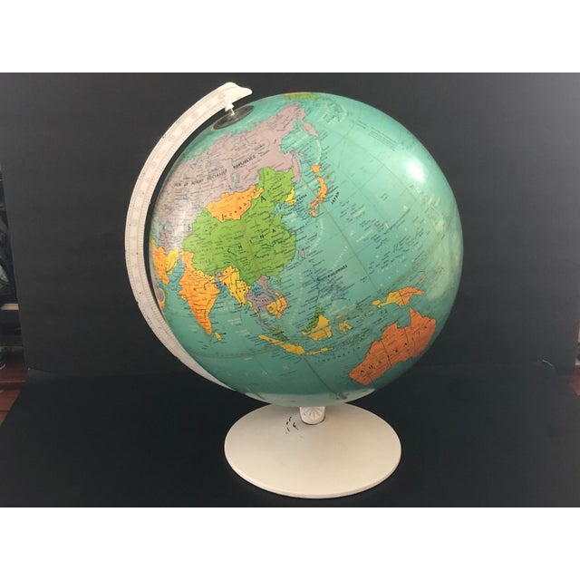 Pop Art 1970s Vintage Blue Replogle Table Globe With White Base For Sale - Image 3 of 13