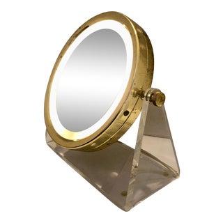 Brass & Lucite Vanity Mirror For Sale