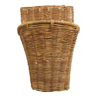 Vintage Wicker Woven Wall Basket or Umbrella Stand For Sale
