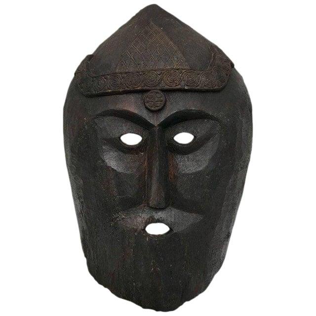 Huge Carved Mahogany Celtic Mask For Sale