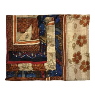 Blossoms on Brown Rug and Relic Kantha Quilt