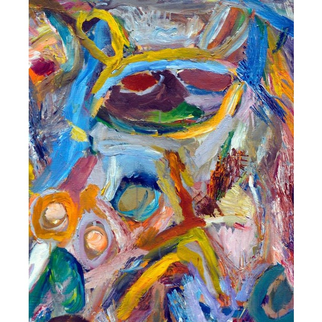 Vibrant and evocative, this figurative abstract by Berkeley artist Joseph Alef (American, b. 1981) is compelling and fresh...