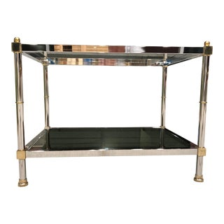 Mid-Century Modern Chrome Brass and Glass Two-Tier Table Jansen Manner For Sale