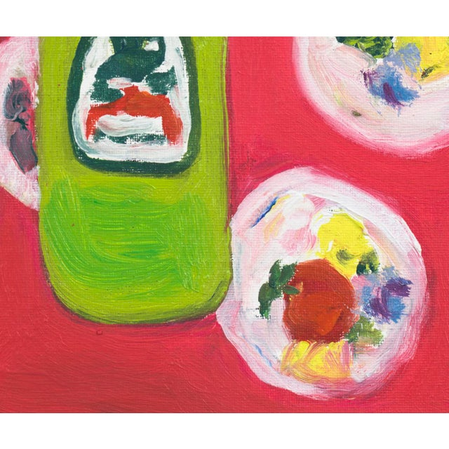 A beautiful painting of 3 sodas on a patterned tablecloth. Very simple, bright, and vibrant. Very graphic and highly...