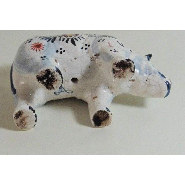 Circa 1910 French Faience Rhinoceros Figure For Sale - Image 5 of 5