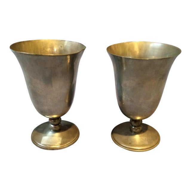 Vintage Pewter Goblets - A Pair - Image 1 of 4
