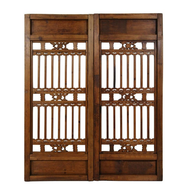 Wood Chinese Antique Carved Window Shutters For Sale - Image 7 of 8