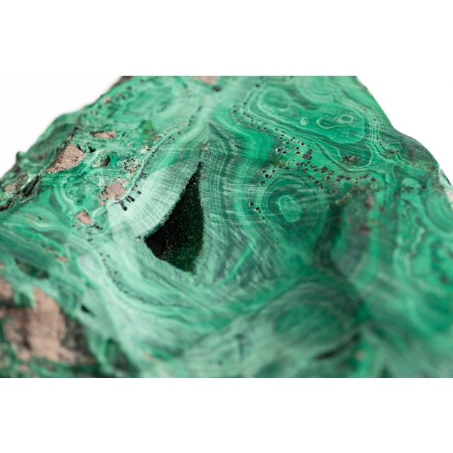 Malachite Natural Specimen Vide Poche Stone Paperweight For Sale - Image 11 of 12
