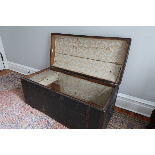 Dometop Steamer Trunk Chest With Metal Strapping and Iron Handles For Sale In New York - Image 6 of 11