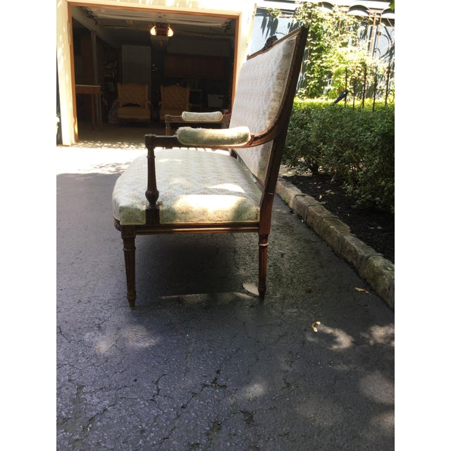 Textile 19th C. Louis XVI Style Walnut Settee For Sale - Image 7 of 9