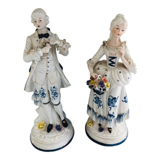 Vintage Pair of French Porcelain Figurines For Sale