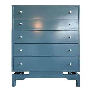 Refinished Midcentury Modern Blue Minimalist Dresser For Sale