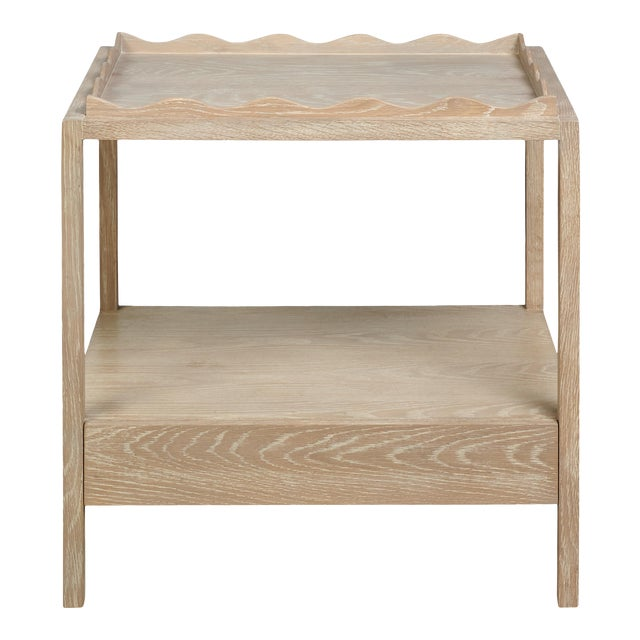 Rita Konig for The Lacquer Company Belles Rives Nightstand Oak in Cerused Oak For Sale