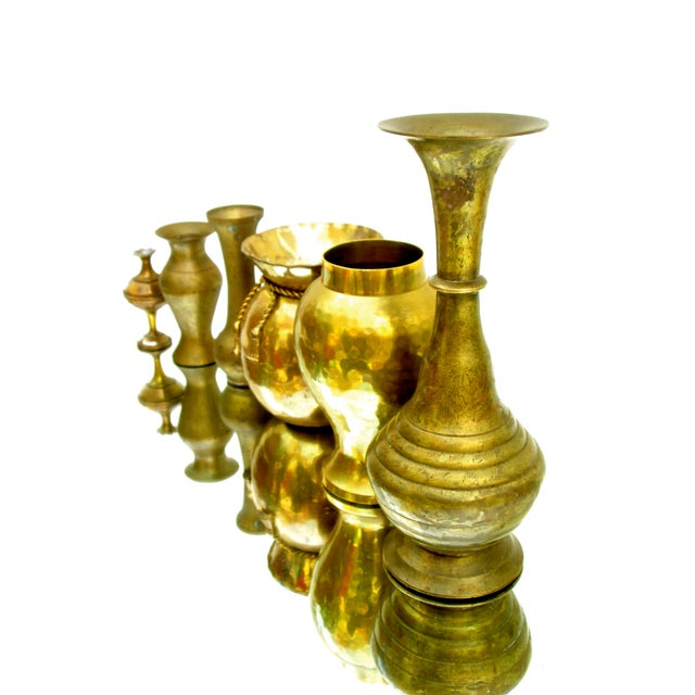 Gold Vintage Brass Bud Vases - Set of 5 For Sale - Image 8 of 8
