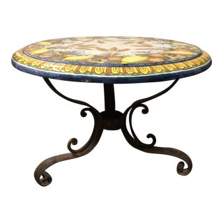 Rustic Ceramic Top Round Table For Sale