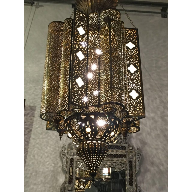 Large Moroccan Moorish Brass Chandelier For Sale - Image 11 of 13
