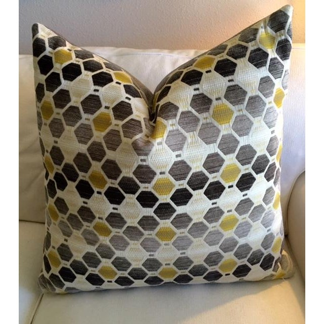 Modern Geometric Chartreuse & Gray Pillow - Image 3 of 7