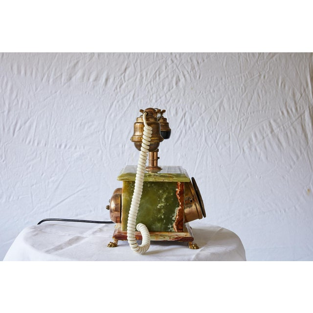 Vintage Italian Green Onyx and Gilded Bronze Telephone For Sale - Image 4 of 13