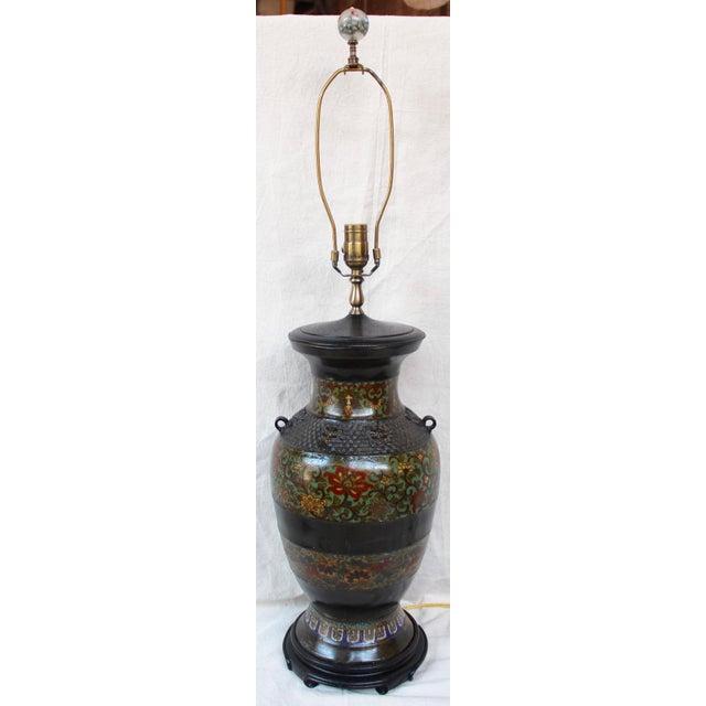 Large Champleve Enameled Urn Lamp - Image 2 of 7