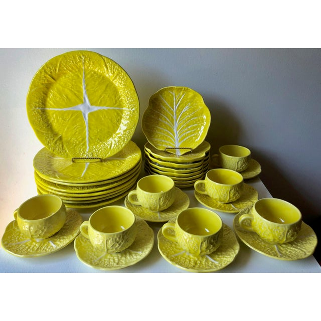 This fabulous set of extremely rare vintage Secla yellow cabbage leaf Majolica dishes features 8 dinner plates, 8 lunch or...
