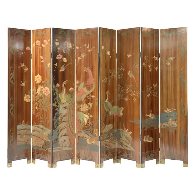 Mid 20th Century Large Caramel Hand Painted Chinoiserie Screen For Sale - Image 5 of 5