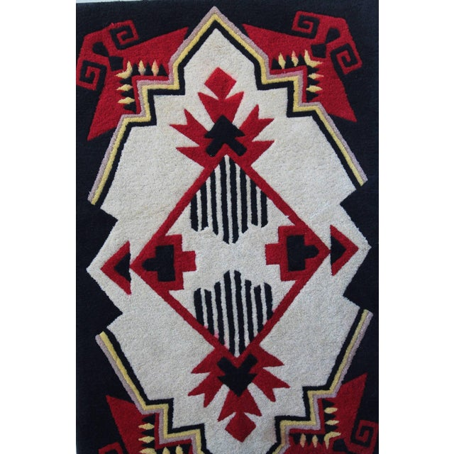 1930s 1930s Mounted Geometric Hand-Hooked Rug For Sale - Image 5 of 7