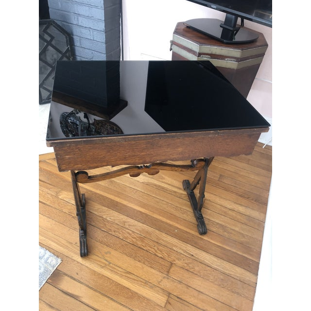 Antique English Carved Oak End Table With Crown and Black Glass Top For Sale - Image 9 of 11