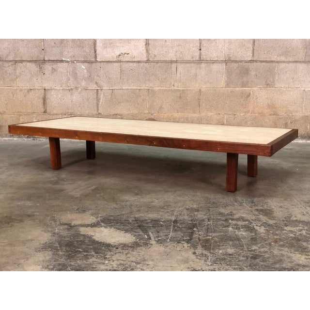Mid-Century Modern Low Profile Custom Coffee Table With Travertine Top For Sale - Image 5 of 5