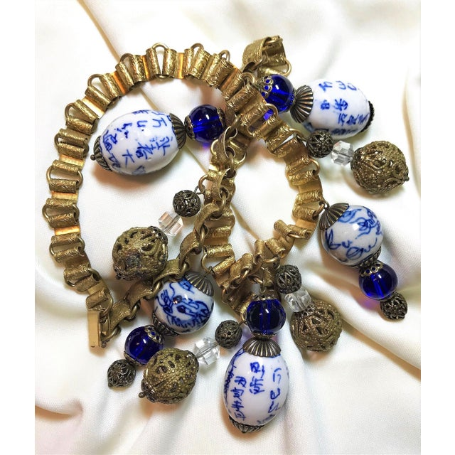 Metal Chinese Blue and White Porcelain Bead and Brass Bookchain Necklace For Sale - Image 7 of 9