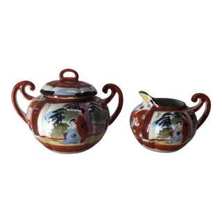 Mid-Century Japanese Cream and Sugar - Set of 2 For Sale