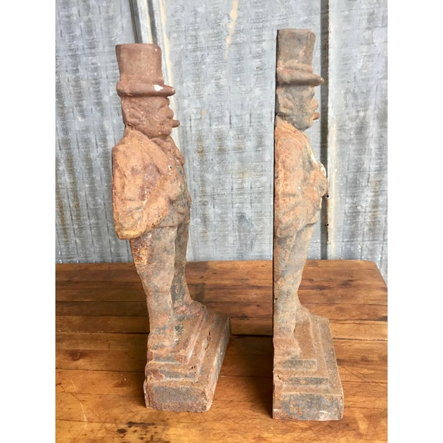 Antique Winston Churchill Cast Iron Andirons - A Pair - Image 8 of 10