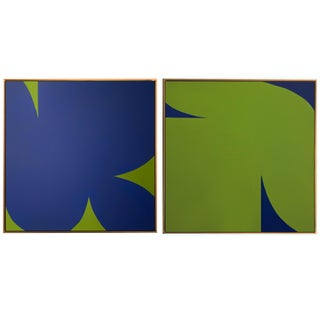 Contemporary Abstract Graphic Diptych Acrylic and Gouache Painting by Brooks Burns, Framed - a Pair For Sale