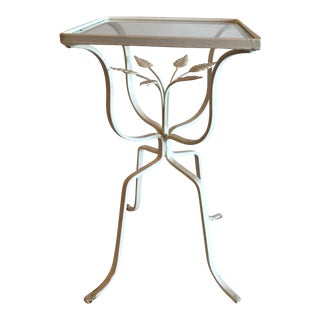 Vintage Metal Leaf Design Garden Table