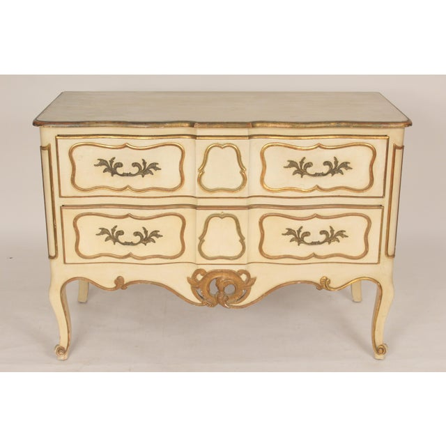 Louis XV style painted and partial gilt chest of drawers, circa 1960's. With nice quality gilt decoration and brass...