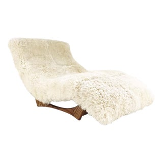 Forsyth Vintage Adrian Pearsall Style Wave Chaise Lounge Chair Restored in Brazilian Sheepskin and Leather