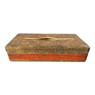 Vintage Red Florentine Tissue Box