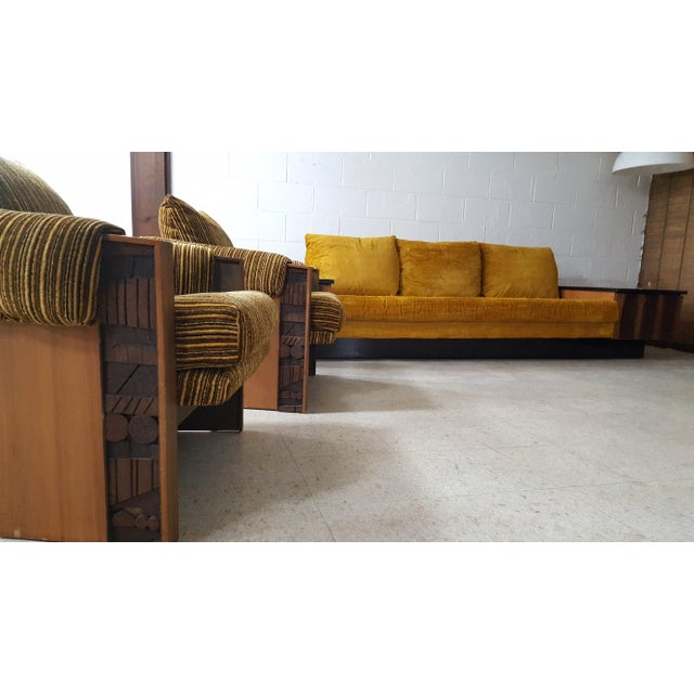 1970s Brutalist Lane Furniture 'Pueblo' Sofa W/ Attached End Tables For Sale - Image 12 of 13