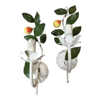 Vintage 1950s French Tole Pear Sconces - a Pair For Sale