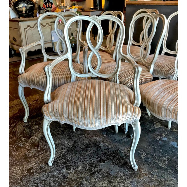 Set of 8 Italian-Ventian Style Ribbon Back Dining Chairs For Sale - Image 11 of 12