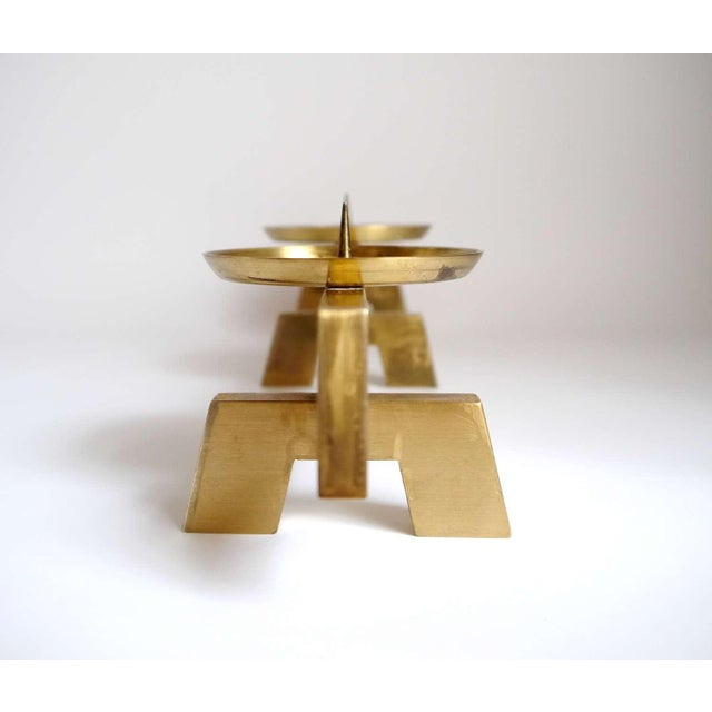1960s 1960s Vintage Mid Century Modern Scandinavian Brass Candles Holder For Sale - Image 5 of 6