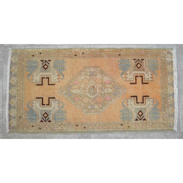 Distressed Low Pile Rug Turkish Yastik Petite Rug Faded Mat - 18'' X 37'' For Sale - Image 4 of 4
