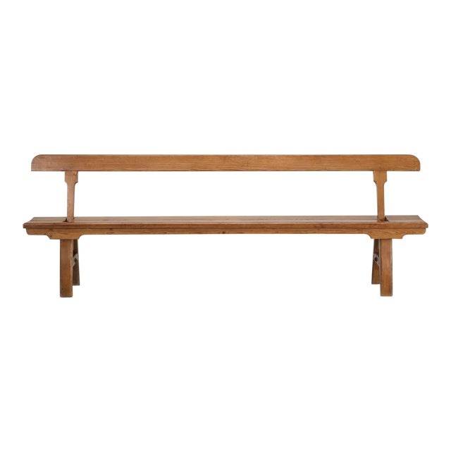 Antique Country Pine Bench With Adjustable Back For Sale