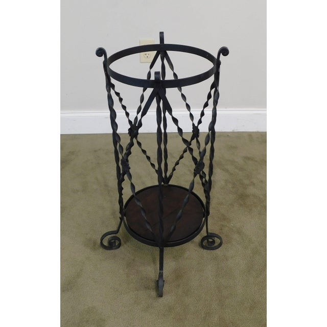 High Quality Hand Wrought Iron Antique Umbrella Stand with Wood Base