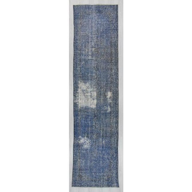 Vintage Turkish Blue Overdyed Runner Rug - 2′11″ × 12′ - Image 2 of 6
